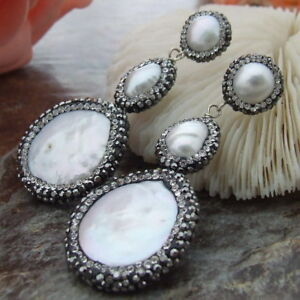 925 Silver Stud White Coin Pearl cz Trimmed With Marcasite Earrings