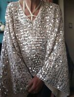 Sass & Bide MYSTIFY MY MIND silver Sequin Embellished Knit Top sz XXS 6-10 BNWT
