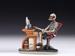 Skeleton at Desk / Computer Table Skull Figurine Statue Skeleton Halloween