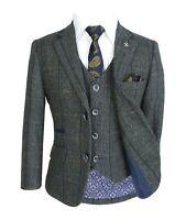 Cavani Men's & Boys Grey Wool Blend Herringbone Check Tweed Peaky Blinders Suit