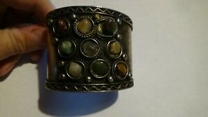 LARGE Sterling Silver Artisan 9 gemstone CUFF bracelet 53mm