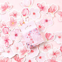 45Pcs Cherry Sakura Self Adhesive Scrapbook Stickers DIY Diary Album Decor Charm