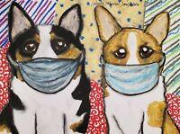 Corgi in Quarantine Art Print 5 x 7 Dog Collectible Pembroke Welsh Artist KSams