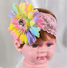 STRETCH LACE HEADBAND WITH DAISY FLOWER -GIRLS HAIR ACCESSORIES-HANDMADE 8e21135b8468
