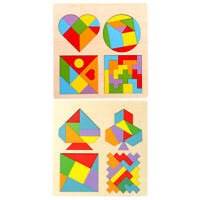 Creative Wooden Geometric Color Jigsaw Puzzle Kids Wisdom Develop Learning Toys