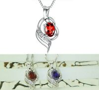 "925 Sterling Silver Waterdrop Oval CZ Pendant Necklace 18"" Chain Gift Box A9"