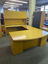 6'x9 1/2' Executive U-Shape Desk by Geiger Office Furniture in Maple finish wood