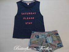 NEW Victoria's Secret The Mayfair Graphic Tank & Shorts 2pc Pajama Set PATCH L