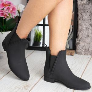 Womens Ankle Boots Ladies Wellies Wellington Rain Snow Chelsea Shoes Size