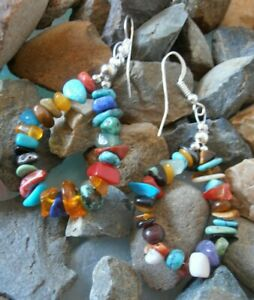 Navajo American Indian drop earrings Nugget mix Turquoise Amethyst Lapis Coral