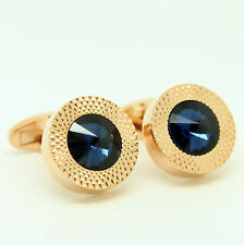 Stunning Rose Gold Round Cufflinks With Bright Blue Stone