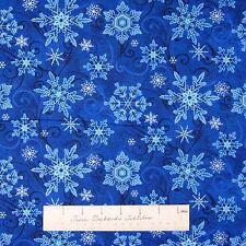 "Christmas Fabric - Something Blue Snowflake Toss Dark Henry Glass LAST 18"""