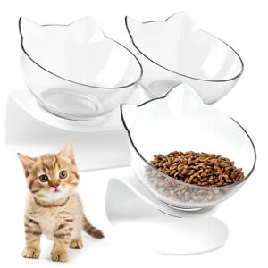 Single/Double Cat Bowls Feeder Pet Food Water Container Raised Stand 15° Tilt