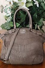 COACH MADISON LINDSEY GATHERED LEATHER TAUPE/SILVER SATCHEL18643~msrp $598