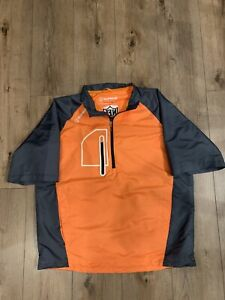 NFL Alumni SUNICE X20 CT 1/4 Zip S/S Windbreaker Golf Jacket Orange Medium