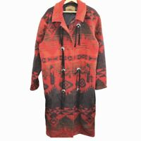 E85 Vintage Woolrich Made in USA Trench Coat Navajo Aztec Duster Women's Large