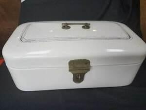 LARGE Antique WHITE ENAMELWARE BREAD BOX ~ GERMANY