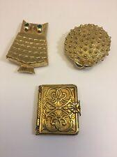 Vintage Goldtone Perfume Lockets 3 Avon Helena Rubenstein 2 With Perfume Compact