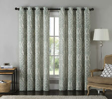 "Jacquard Window Curtain Panel: Damask Print, Teal and Antique White, 54"" x 84"""