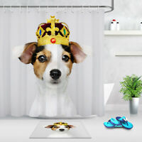 Funny Dog Pet Wearing Crown Bath Waterproof Polyester Fabric Shower Curtain Set