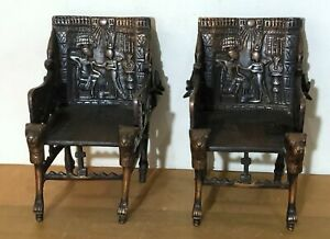 PAIR OF VINTAGE SOLID BRASS & COPPER EGYPTIAN REPRODUCTION OF KING TUT THRONE