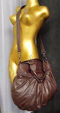 DAVID & SCOTTI Distressed Brown Leather Shoulder Hobo Bag Purse