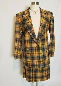 90s Vintage Womens Matching Blazer & Skirt Suit Set Yellow Plaid Clueless 7/8