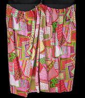 """Vintage 60s 70s Colorful Patchwork Print Cotton Curtains 2 Panels 50-60"""" Hippy"""