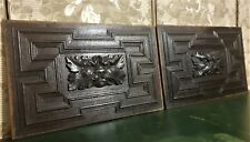17th Pair green man labyrinth carving panel Antique french architectural salvage