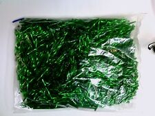 VTG 1/4 kilo  TWIST SILVER LINED PINE TREE GREEN GLASS 25mm BUGLE BEADS #012912c