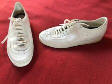 Men's Zara Leather Trainers Casual Flat Shoes All White Size EU 41