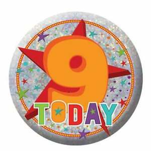 Amscan Happy 9th Birthday Holographic Badge