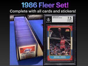 1986 Fleer Basketball Complete Set 1-132 with Stickers 1-11.  Jordan is BGS 7.5