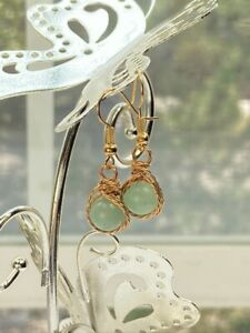 Handmade Womens Jade Stone with Gold Plated Wiring Drop Earrings