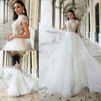 d9547412f5 Wedding Dresses Bridal Gowns Cap Sleeves Appliques Plus Size 0 4 6 8 10 12  14