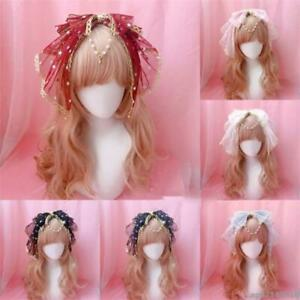 Sweet Lolita Kawaii Bow Lace Bell Headband Fairy Cosplay Headwear Hair New