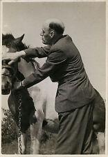 PHOTO ANCIENNE - VINTAGE SNAPSHOT - ANIMAL CHEVAL HOMME PROFIL MODE - HORSE MAN