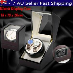 Auto Watch Winder Dual Automatic Watch Box Black Sandalwood Rotation Storage AU
