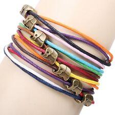 Lucky Bronze Elephant Friendship Bracelet Handmade Multilayer Braided Cord Charm