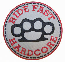 RIDE FAST HARD CORE BRASS KNUCKLES  Embroidered patch iron on