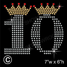 Tenth Birthday Rhinestone/Diamante Transfer Hotfix Ironon Motif with Free Gift