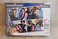 Puzzle Captain America - Nathan 4 puzzles de 100 pièces chacun - 6 ans - NEUF