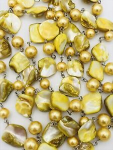 Golden Yellow Mother of Pearl Infinite Strand Necklace Earrings Set