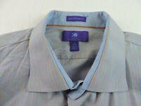 Egara Mens 19 34-35 Egyptian Cotton Non Iron Slim Fit Dress Button Striped Shirt