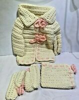 Vintage Homemade Pink White Knit Infant Baby Booties Sweater Hat