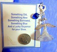 Something Blue Bride +Heart Charm for Garter +Gift Card & Lucky Wedding Sixpence