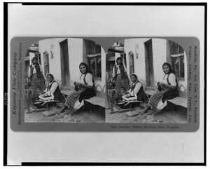 Peasant women spinning flax,Bulgaria,c1918,Reproduction,domestic life,chil 9393