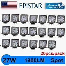 """20X 27W 4"""" Spot Square Offroad Work LED Light Bar Driving DRL SUV 4WD Boat Truck"""