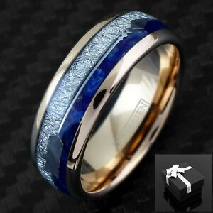 6/8mm Rose Gold Tungsten Meteorite & Blue Lapis Lazuli Arrow Men's Band Ring