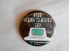 Vintage Transamerica Airlines Put Your Clients on TV Early Computer Pinback